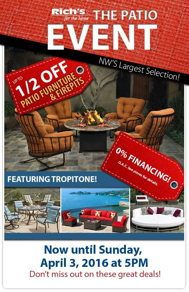 Rich's Half-Off Sale on Patio Furniture - Through April 3, 2016 at Rich's for the Home
