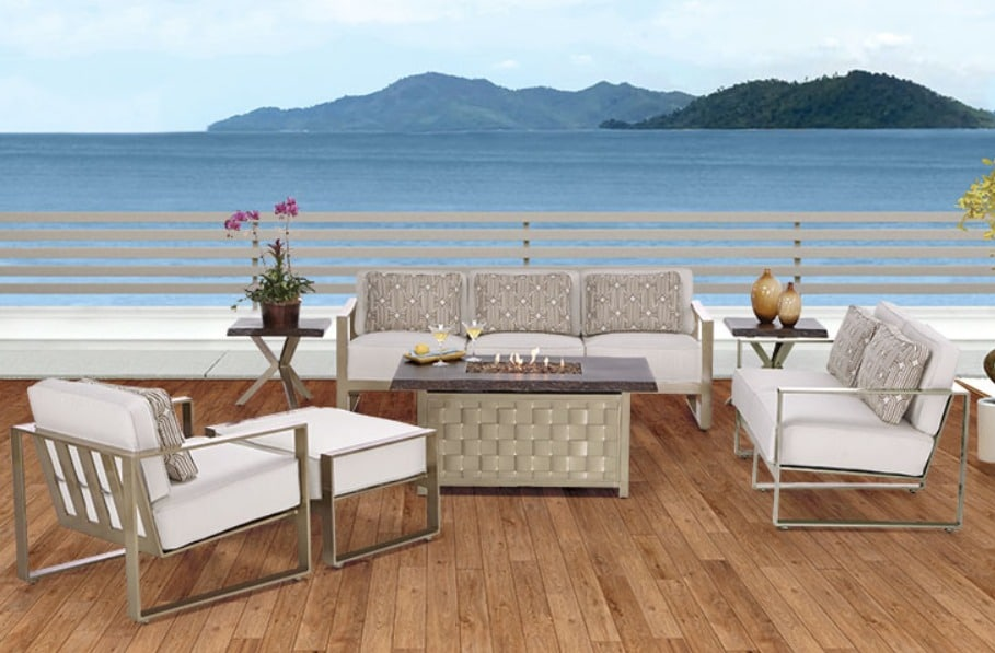 """Park Place"" sofa, loveseat, lounge chair, ottoman, and fire pit, by Castelle. Available at Rich's."