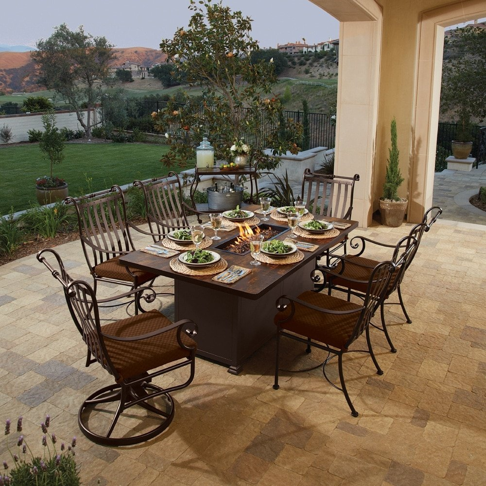 Santorini 42 x 72-inch dining height fire table, by O.W. Lee