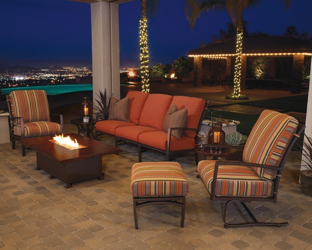 """Occasional Height Hammered Copper Fire Pit, 36 x 58"""", by O.W. Lee"""