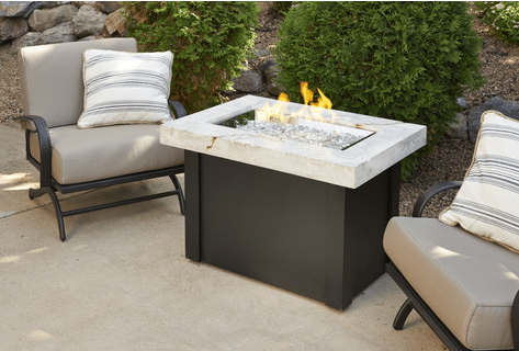 Providence chat height fire table with white onyx top, by Outdoor GreatRoom