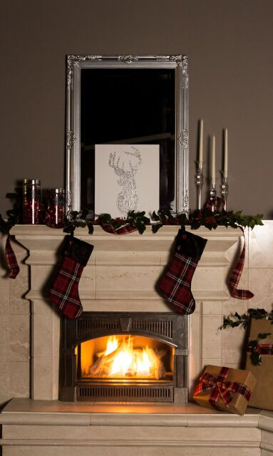 Tartan and Sparkle Holiday Mantel - DIY Tutorial | RichsHome.com