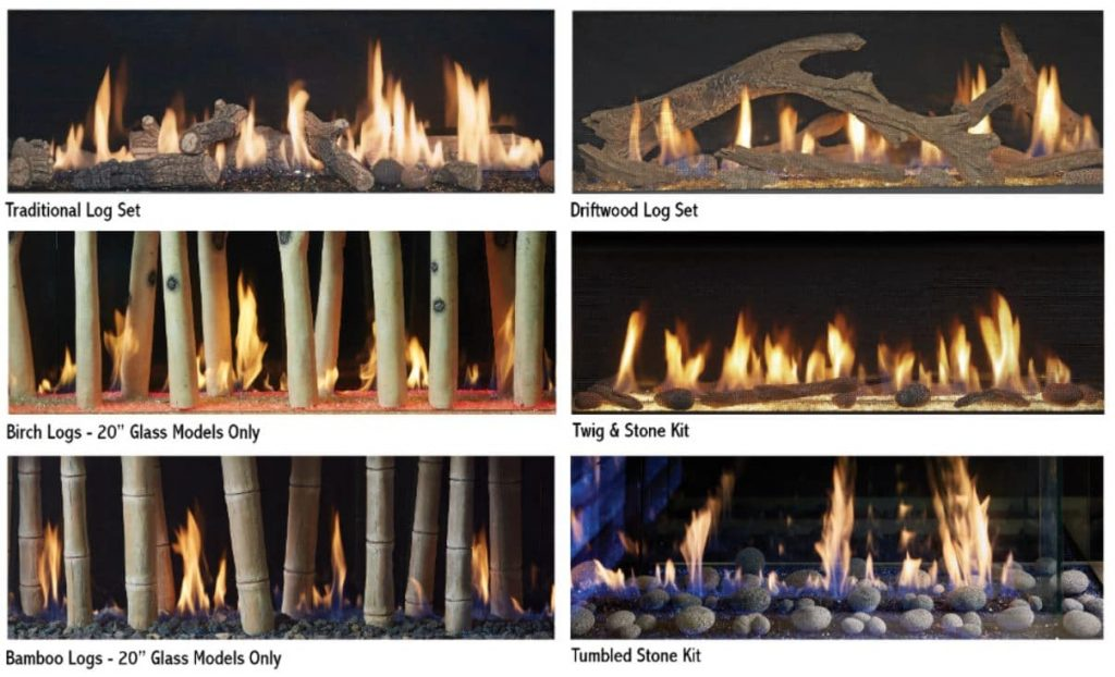 DaVinci Custom Fireplaces - log set choices
