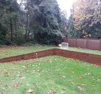 BEFORE picture of landscape renovation. Photo courtesy of Alderwood Landscaping.