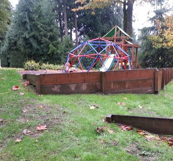 BEFORE picture of landscape renovation. Photo courtesy of Alderwood Landscaping.