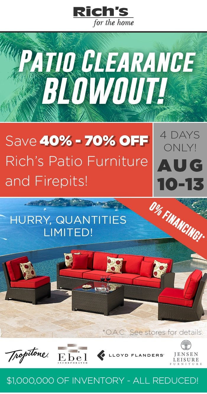 Save Up to 70% During Rich's Patio Furniture Clearance Blowout