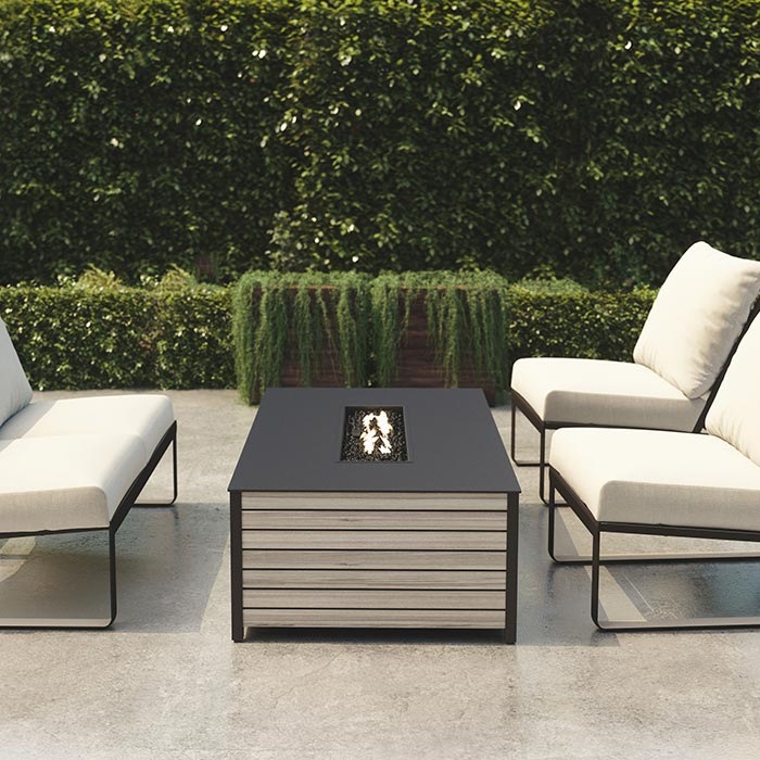 Camino fire pit and Samba Cushion Collection, by Tropitone